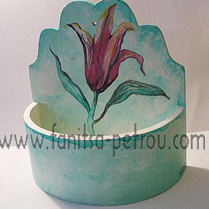 Green, hand painted, wooden flower pot