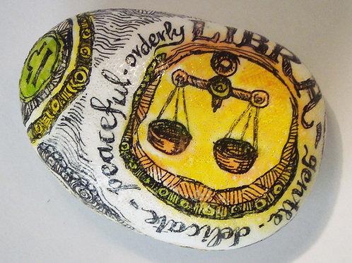 Libra 3 - Hand painted Zodiac Stone