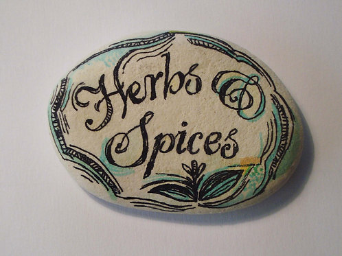 """""""Herbs & Spices"""" 3,  hand painted ston"""