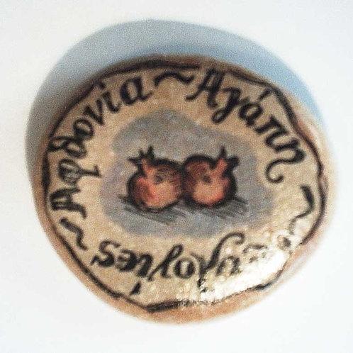 """""""Αφθονία, Αγάπη, Ευλογίες"""" - hand painted stone"""
