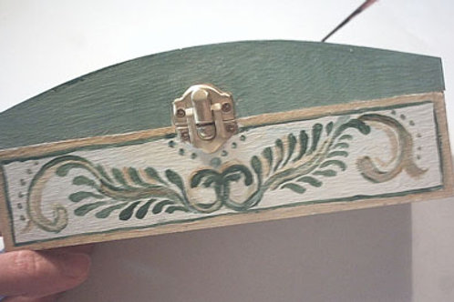 Green hand painted wooden box