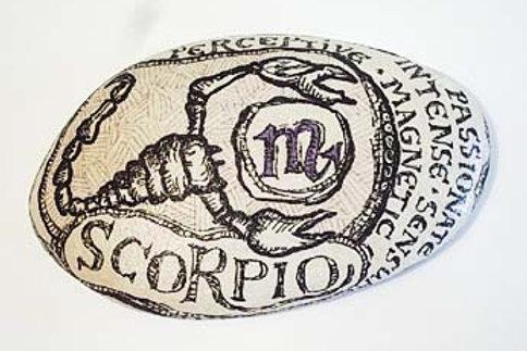 Scorpio 3 - Hand painted Zodiac Stone