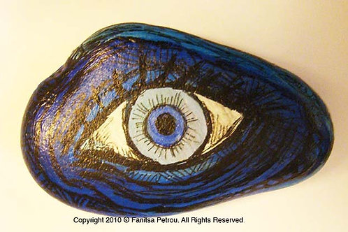 Blue Eye, 5 Hand painted stone