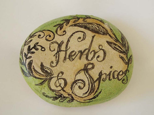 """""""Herbs & Spices"""" 1, hand painted stone"""
