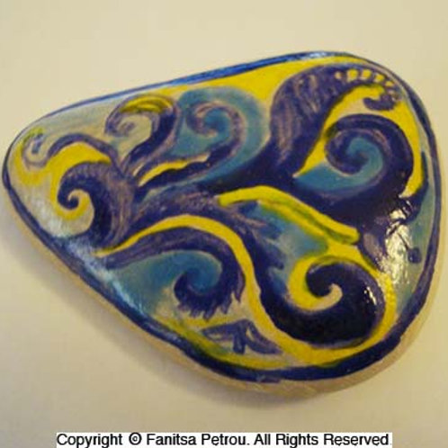 floral purple & yellow - Hand painted stone