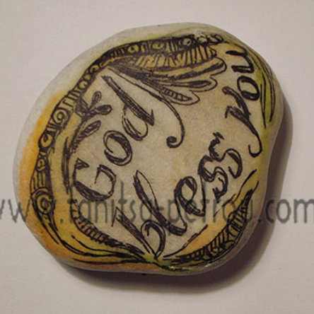 """God Bless you"" hand painted stone"