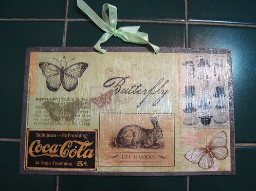 """""""Butterfly / Rabbit"""", wooden sign"""