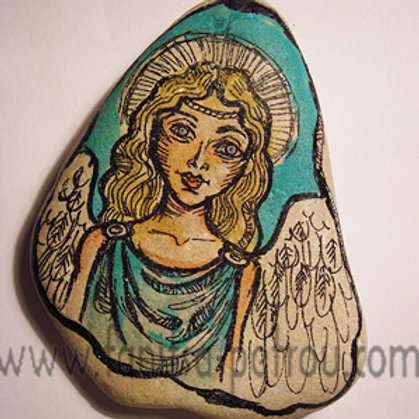 Angel-10, Hand painted stone