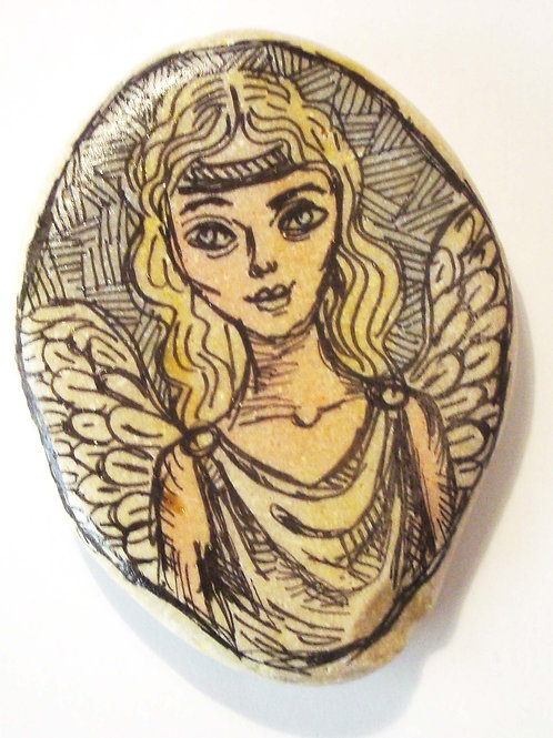 Angel-3, Hand painted stone
