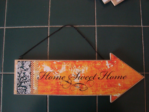 """Home Sweet Home"" wooden arrow"