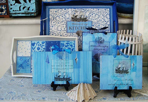 Fanitsa Petrou Art. Blue and white, kitchen decor, white & blue, wooden sign, wooden trays, wooden arrows, wooden signs with messages, shabby chic, vintage, hand painted objects, quotes about the sea, Affortable Art, Decorative Objects for the Home& Garden, illustration by Fanitsa Petrou, www.fanitsa-petrou.com