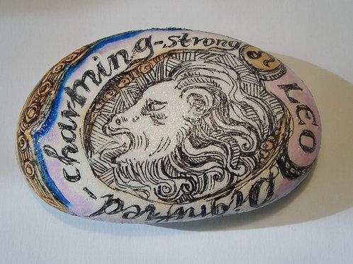 Leo 3 - Hand painted Zodiac Stone