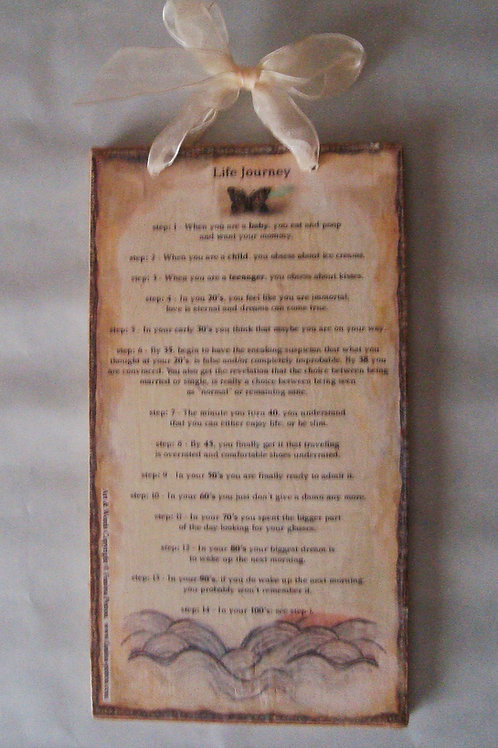 """Life Journey""  wooden sign"