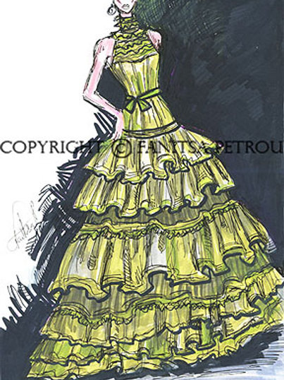 Fashion illustration - Long Green Dress