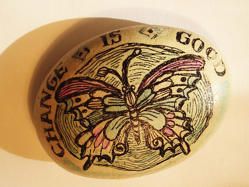 Butterfly hand painted stone, 4