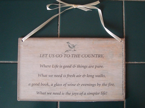 """""""To the country"""", wooden sign"""