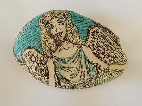 Angel-4, Hand painted stone