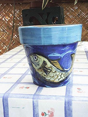 'Fish', clay flower pot