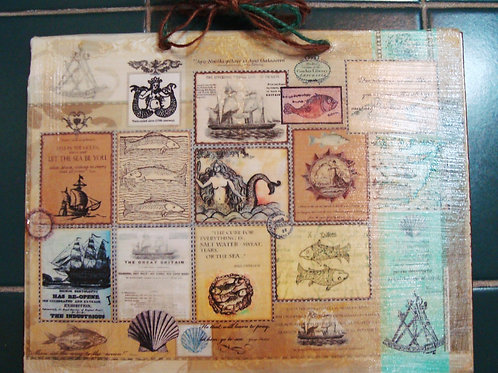 """""""The Sea, 9"""" wooden sign"""