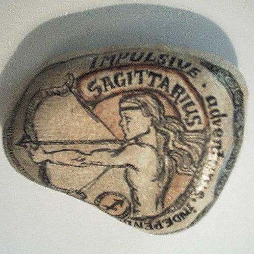 Sagittarius 2 - Hand painted Zodiac Stone