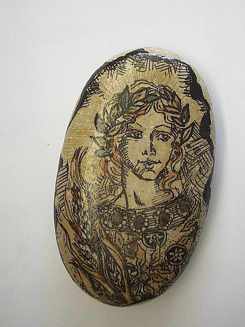 """""""Spring Maiden"""" hand painted stone"""
