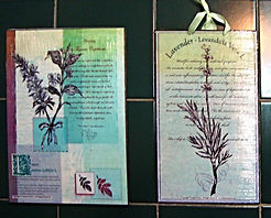 Fanitsa Petrou Art, Apothecary's garden, illustrations inspired by Nature, wooden signs with messages about thye country, herbs & spices, lavender, Thyme