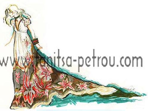 Fashion illustration - Long floral dress