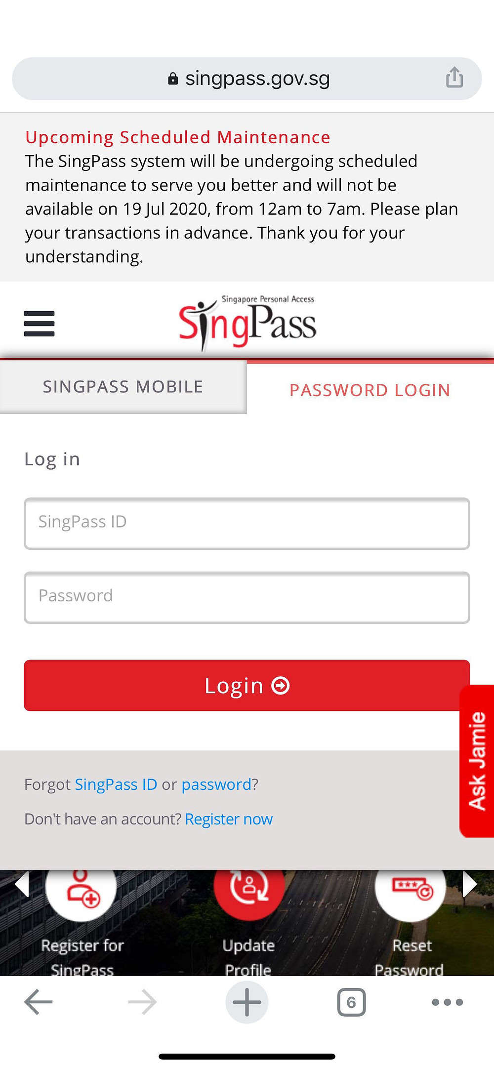 Log in to SingPass and Click on OneMotoring icon to redirect you to the OneMontoring.com.sg site.  Or you can also direct visit onemotoring.com.sg.