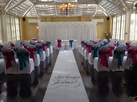 Starlight backdrop along with white strech covers and alternate tafftea sashes
