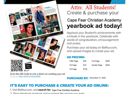 2020-2021 Yearbook Ads are on Sale Now!