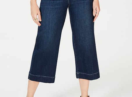 25% Off Style & Co Wide-Leg Cropped Pull-On Jeans