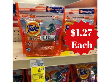 Score Tide Pods for $1.27 at CVS starting 03/07 - 03/13