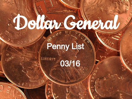 Dollar General Penny List For 03/16