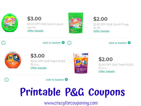 Printable P&G Coupons! Tide, Gain, and Much More