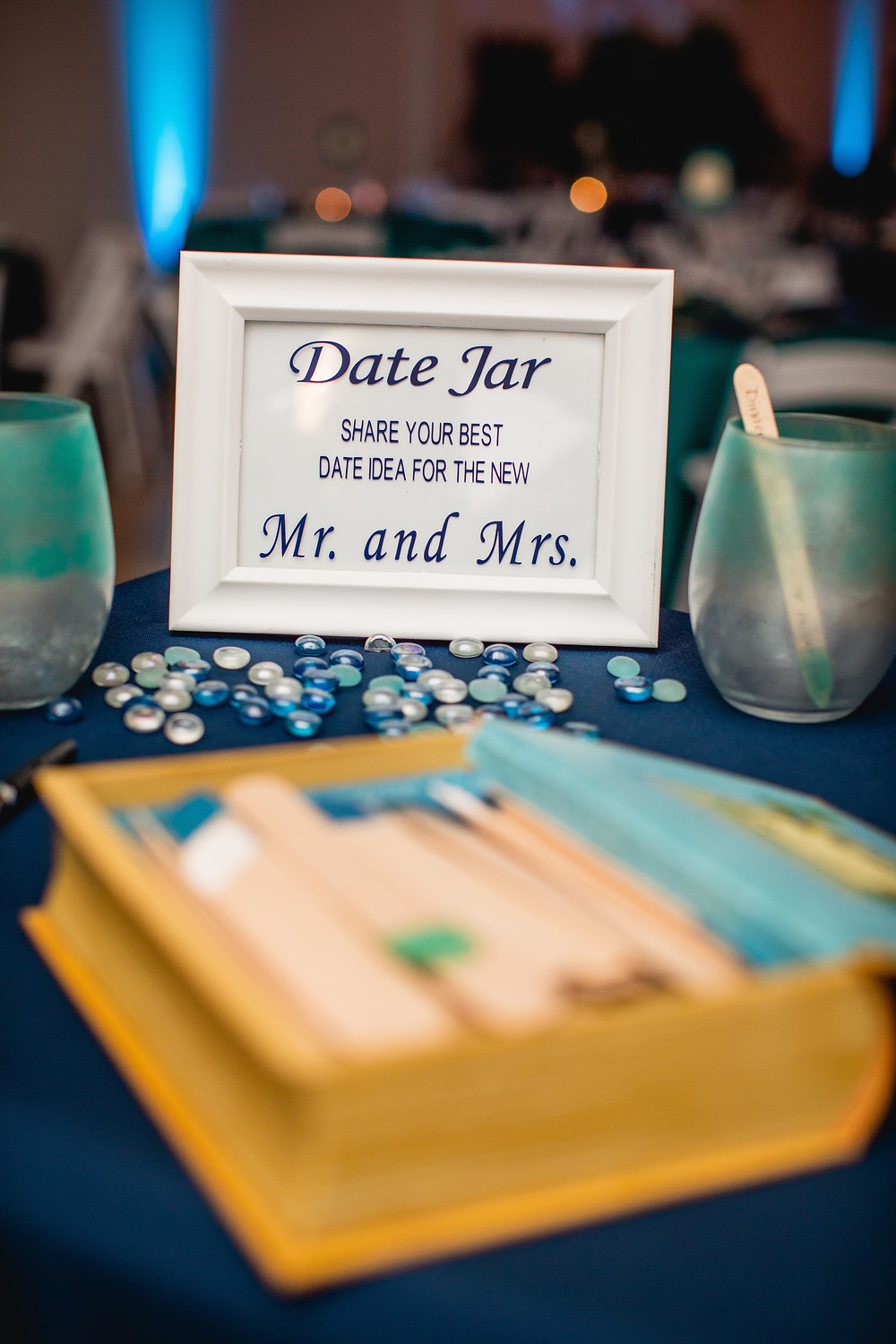 Date night jar, creative guest book ideas, wedding guest book