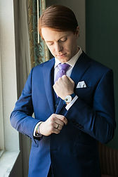 Custom Groom Suit in blue and lavender, Photo by: Tpoz