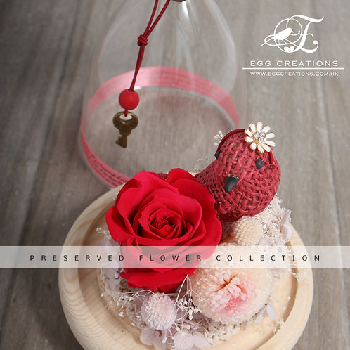 Preserved Rose and Mum with Bird in Bell Glass Jar