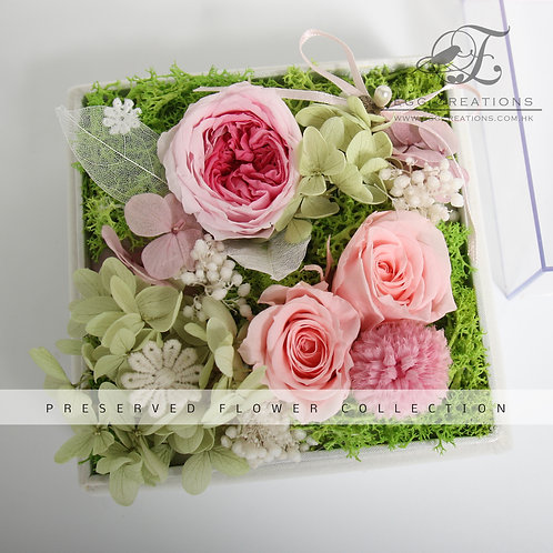 Preserved Roses and Hydrangea in a Display Box