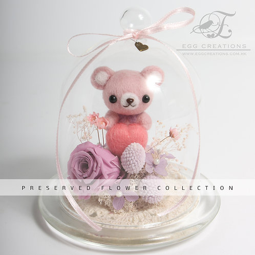 Hand-made Teddy Bear with Preserved Flowers in Glass Jar