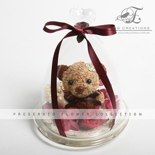 Bear Holding a Bouquet in Glass Bell Jar