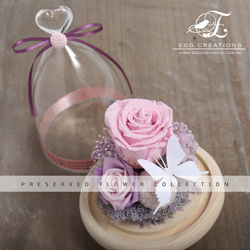 Preserved Rose with White Butterfly in Glass Jar