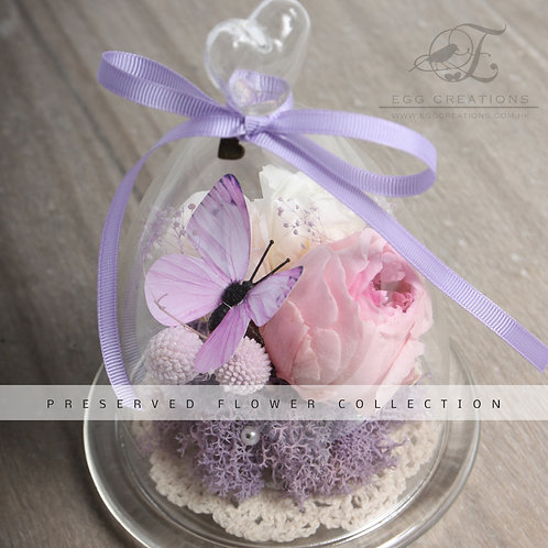 Preserved Rose with Butterfly in Glass Jar