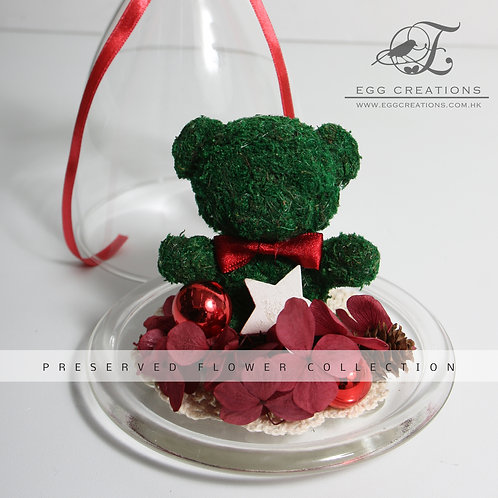 Moss Bear with Christmas star in Glass Jar