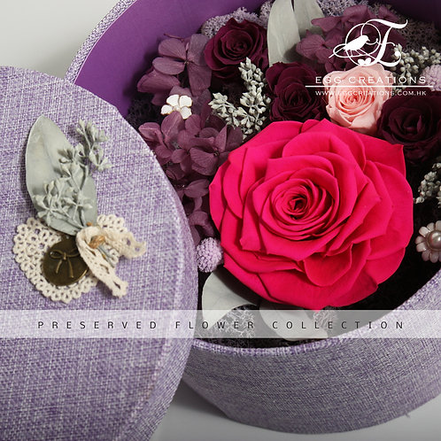Preserved Rose in cloth-wrapped giftbox