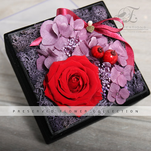 Preserved Rose with Berries and Hydrangea in Black Velvet Box