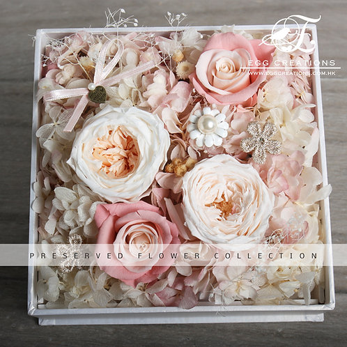 Preserved Roses and Hydrangea in a acrylic display box