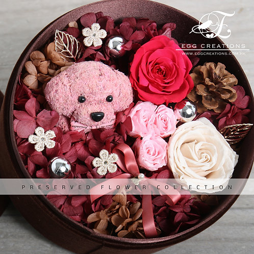 Preserved Flowers and Poodle in Round Giftbox