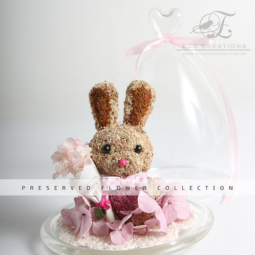 Bunny with flower bouquet in glass jar