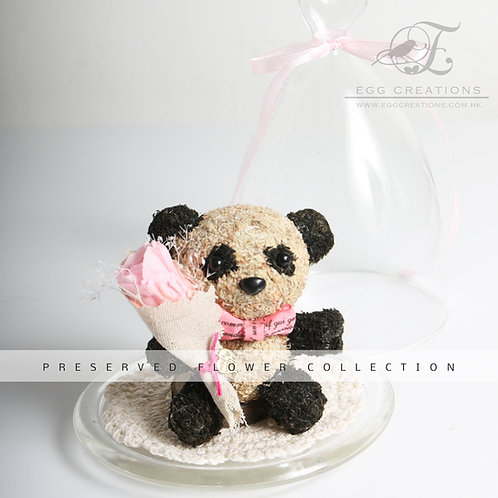 Panda with flower bouquet in glass jar
