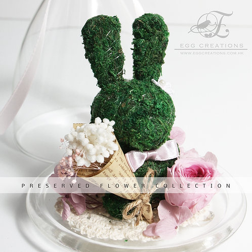 Moss Bunny with Bouquet in a Glass Jar